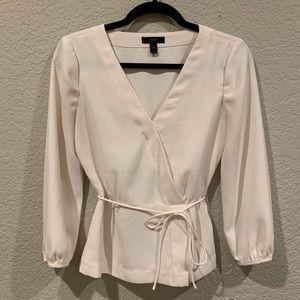 J. Crew Ivory cream faux wrap peplum blouse shirt
